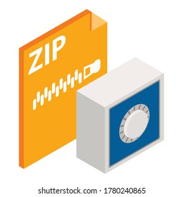 Zip file icon. Isometric illustration of zip file vector icon for web