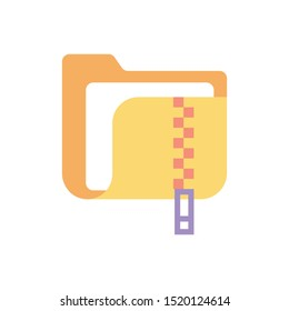 Zip File Vector Flat Icon. Illustration Style EPS 10.