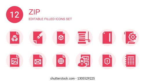 zip icon set. Collection of 12 filled zip icons included File, Yarn, Jpeg, Files