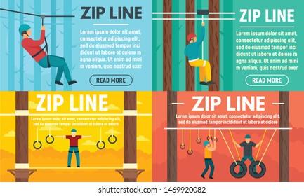 Zip line banner set. Flat illustration of zip line vector banner set for web design
