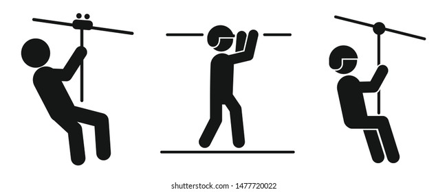 Zip line icons set. Simple set of zip line vector icons for web design on white background