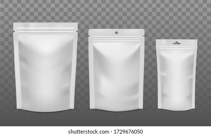 Zip package. Blank foil bags of different size, plastic sachet pouch for coffee, candy or nuts. Packaging for advertising vector isolated mockups
