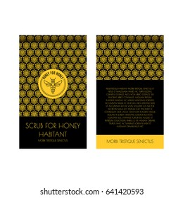 Zip package vector template for honey scrub. Luxurious design with gold and black. Label with the logo of a flying bee. For eco products of beekeeping, cosmetics, medicine. In a linear style.