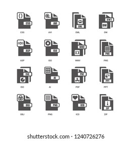 Zip, Png, Wmv, Obj, Ppt, Css, Asp, Iso, Ico, Eml icon 16 set EPS 10 vector format. Icons optimized for both large and small resolutions.