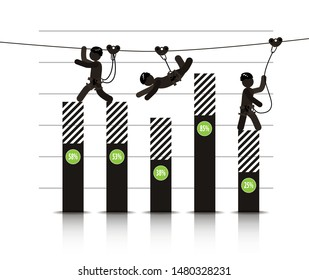 Zipline is an exciting adventure activity and business diagrams. Vector banner