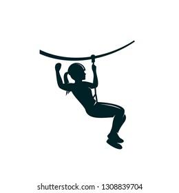 Ziplining Girl Vector