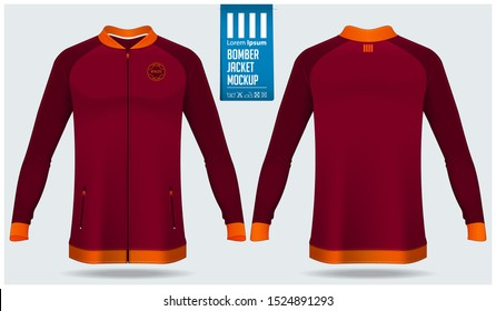 Zipped bomber jacket mockup template design for soccer, football, baseball, basketball, sports team or university. Front view and back view for jacket uniform. Vector Illustration.