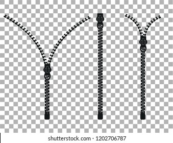 Zipper - closed and open zip icons. Vector illustration.