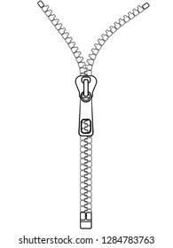 Zipper closure close-up. Zipper outline. Linear Vector Image
