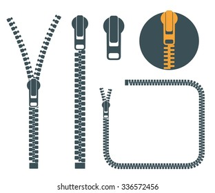 Zipper icon set. Abstract zippers on white background. Logo