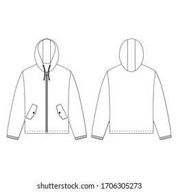 Zipper jacket vector illustration flat outline template