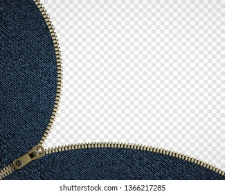 Zipper on denim. Isolated on a transparent background. Sewing accessory. Vector illustration.