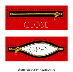 Zipper open closed red color sign. Symbol for equipment for sewing shop, fabric material and notions store, boutique clothes... vector art image illustration, isolated on white background, eps10