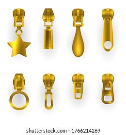 Zipper pullers, golden zip hasps, different shapes