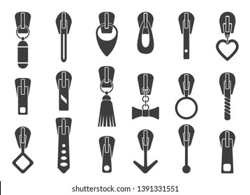 Zipper pullers. Zip pulls vector illustration, sportswear luggage or handbags closure puller collection isolated on white background