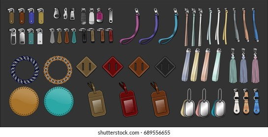 Zipper pulls handbag accessories illustration