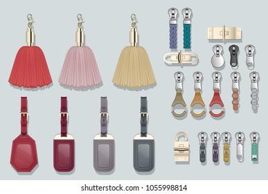 Zipper pulls handbag accessories locks buckle tassels luggage tags handbag closures clasp