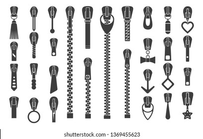 Zipper silhouettes. Zip pulls or zipper pullers vector illustration, black zip lock stock collection isolated on white background