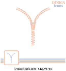 Zipper vector icon. Open.
