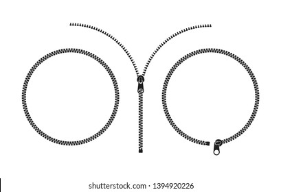 Zipper. Vector illustration. Isolated zippers on white background