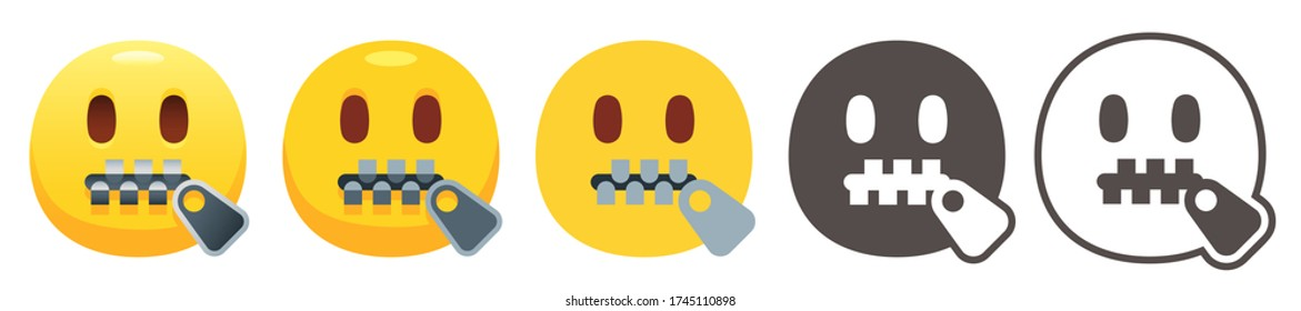 Zipper-mouth emoji. Yellow face with open eyes and closed metal zipper for mouth. Shut up or secret emoticon flat vector icon set
