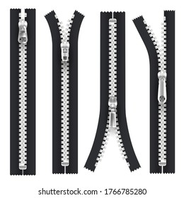 Zippers with silver zip puller hasp, open, closed