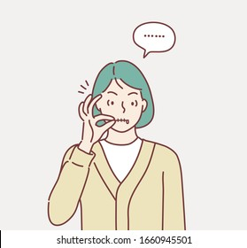 Zipping her mouth, abstract background in shut up concept. Hand drawn style vector design illustrations.