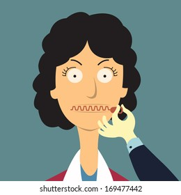 Zipping her mouth, abstract background in shut up concept. Vector illustration.