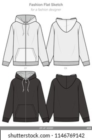 ZIP-UP HOODY FASHION FLAT SKETCHES technical drawings teck pack Illustrator vector template