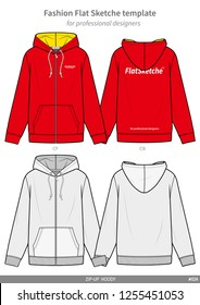 ZIP-UP HOODY fashion flat technical drawing template