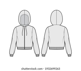 Zip-up Hoody sweatshirt technical fashion illustration with long sleeves, relax body, knit rib cuff, banded hem, drawstring. Flat apparel template front, back, grey color. Women, men unisex CAD mockup