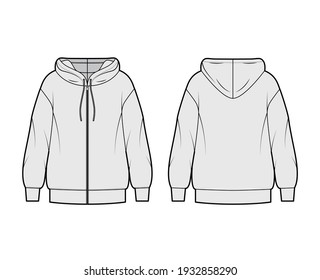 Zip-up Hoody sweatshirt technical fashion illustration with long sleeves, oversized body, banded hem, drawstring. Flat apparel template front, back, grey color style. Women, men, unisex CAD mockup