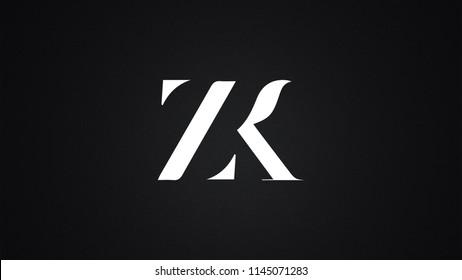 ZK Letter Logo Design Template Vector