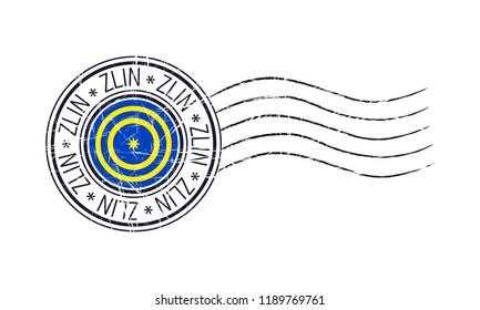 Zlin city grunge postal rubber stamp and flag on white background