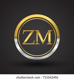 ZM Letter logo in a circle, gold and silver colored. Vector design template elements for your business or company identity.