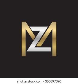 ZM MZ initial company square M shape silver gold logo black background