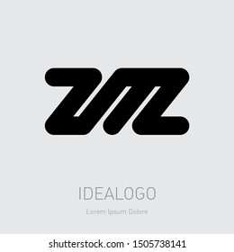 ZM or MZ - Vector design element or icon. Initial monogram logotype. Z and M logo.