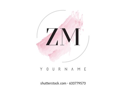 ZM Z M Watercolor Letter Logo Design with Circular Shape and Pastel Pink Brush.