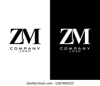 zm/mz company linked letter modern logo black and white color vector for business and company