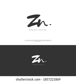 ZN Initial handwriting or handwritten logo for identity. Logo with signature and hand drawn style.