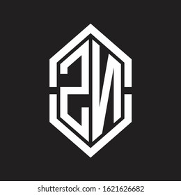 ZN Logo monogram with hexagon shape and outline slice style with black and white
