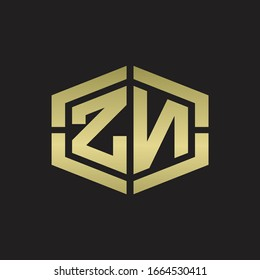 ZN Logo monogram with hexagon shape and piece line rounded design tamplate on gold colors