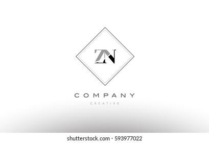 zn z n  retro vintage black white alphabet company letter logo line design vector icon template