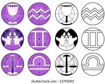 Zodiac air signs (aquarius, libra and gemini) in suncatcher style and black & white - others available
