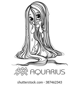 Zodiac: AQUARIUS astrological sign. Vector illustration of a chibi character. Zodiac: manga and anime style. Zodiac:drawing isolated on white. Design zodiac for coloring book page for adults and kids.
