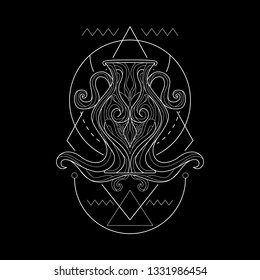 Zodiac Aquarius geometric Style for merchandise or apparel design