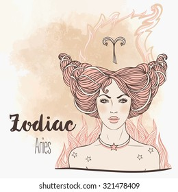 Zodiac: Aries zodiac sign. Vector illustration with portrait of a pretty girl. Vintage zodiac boho style fashion illustration. Design for zodiac coloring book page for adults and kids.