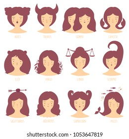 Zodiac astrological signs vector set for horoscope with cute girls faces.