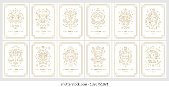 Zodiac astrology horoscope cards linear design vector illustrations set. Elegant symbols and icons of esoteric horoscope templates for wall print poster isolated on black background