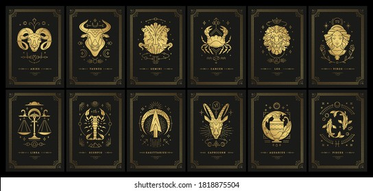 Zodiac astrology horoscope cards linocut silhouettes design vector illustrations set. Elegant symbols and icons of esoteric horoscope templates for wall print poster isolated on black background